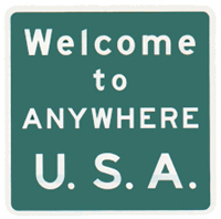 "10D - Welcome to Anywhere U.S.A. 24"" x 24"", Design your own: $68"