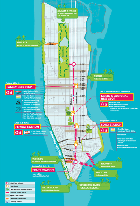 Free Map Of New York City.2009 Car Free Summer Streets In New York City Nyc Bike Maps