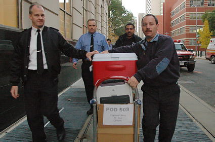Supplies for the fourth annual BIOPOD arrive at FDNY Headquarters