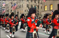 Bagpiper marching in the St. Pat's parade