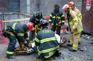 FDNY Members Rescue Worker Who Fell at Construction Site