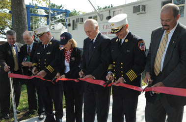 (L to R) Stu Suss, Provost, Kingsborough Community College; William Keller, Vice President and Head of Facilities, Kingsborough Community College; Patrick McNally, FDNY Chief of Operations; Dr. Regina Peruggi, President, Kingsborough Community College; Nicholas Scoppetta, Fire Commissioner; Salvatore Cassano, FDNY Chief of Department; and John Benanti, Deputy Fire Commissioner Bureau of Technology and Support Services.