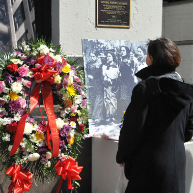 People from across the city gathered to mark the 98th anniversary of the Triangle Shirtwaist Factory fire in which 146 workers lost their lives.