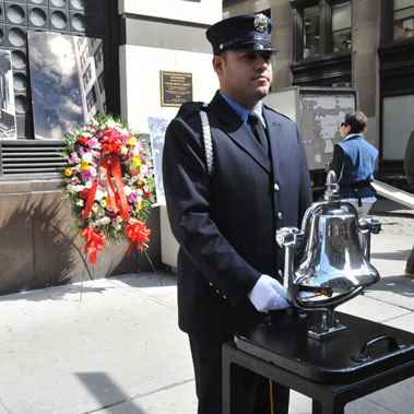 A bell was rung 146 times to honor each life lost in the Triangle Shirtwaist Factory fire.