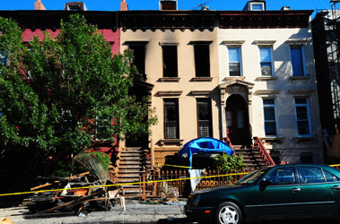 The brownstone at 175 Putnam Ave. in Bedford-Stuyvesant, Brooklyn, where three people were rescued by FDNY firefighters on Aug. 30.