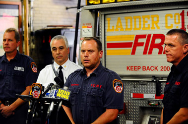 FF Richard Myers of Rescue 2, Deputy Chief Robert Strong of Division 11, FF Peter Demontreux of Ladder 132 and FF Charles Dodenhoff of Rescue 2.