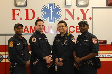 (L to R) EMT Jamaal Shabazz, Paramedic Carl Gandolfo, Paramedic Terence Lau,  and EMT Jerry Bond. Photo courtesy of EMS Deputy Chief Steven Russo.
