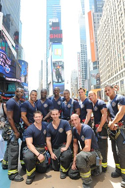 FDNY 2013 Calendar firefighters in Times Square. (L to R, back row) FF Jovis DePognon, FF Jose Cordero, FF Roger Thompson, FF Darius Dorsett, FF Jacques Terlonge, FF Kenneth Sleap, FF James Gunning and FF Jack Medina. (L to R, front row) FF Vincent Ruddy, FF Jeffrey Silverman and FF Rob Derrig.
