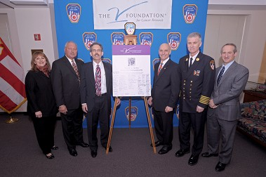 (L to R) CEO of the V Foundation Susan Braun, President Emeritus of the V Foundation Nicholas Valvano, FDNY Chief Medical Officer Dr. David Prezant, Fire Commissioner Salvatore Cassano, Chief of Department Edward Kilduff and First Deputy Commissioner Don Shacknai.