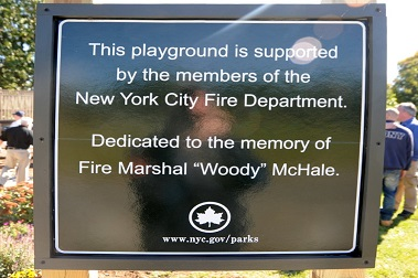 The sign dedicating the playground in Fire Marshal Martin