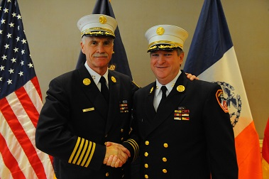 Newly promoted Chief of Department James Leonard with outgoing Chief Edward Kilduff