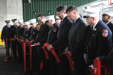 Ribbon cut to officially open EMS Station 49 in Queens.