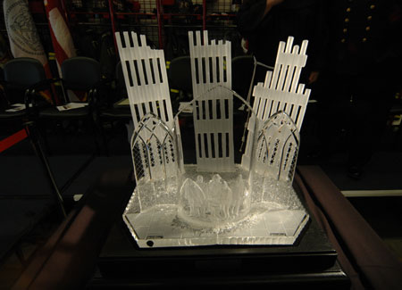 FDNY Accepts Waterford Crystal Sculpture Honoring FDNY Members Lost On 9/11