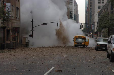 FDNY Members Respond to a Steam Pipe Explosion in Manhattan