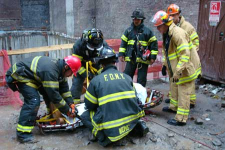FDNY Members Rescue Worker Who Fell at Construction Site - October 12, 2007