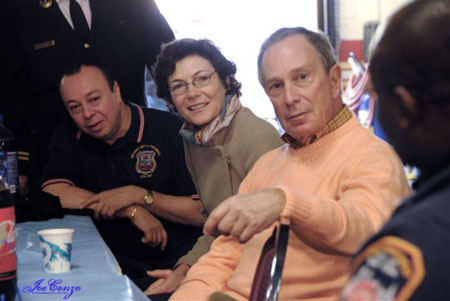 Mayor Bloomberg visits with members of EMS Station 14 in the Bronx on Thanksgiving Morning.