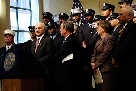 Fire Commissioner Scoppetta joins Mayor Michael R. Bloomberg and other FDNY officials to announce the results of this year's firefighter exam.