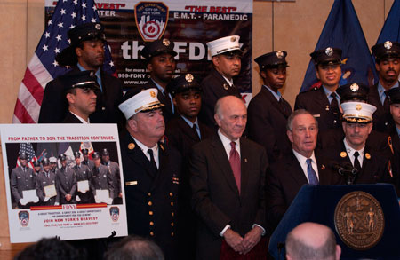 Mayor Michael R. Bloomberg discusses the results of this year's firefighter exam, which is offered every four years.