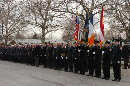 Fire Commissioner Nicholas Scoppetta, Chief of Department Salvatore Cassano and Chief Fire Marshal Louis Garcia were among the hundreds of FDNY members attending the funeral of Supervising Fire Marshal Douglas Mercereau on December 7.