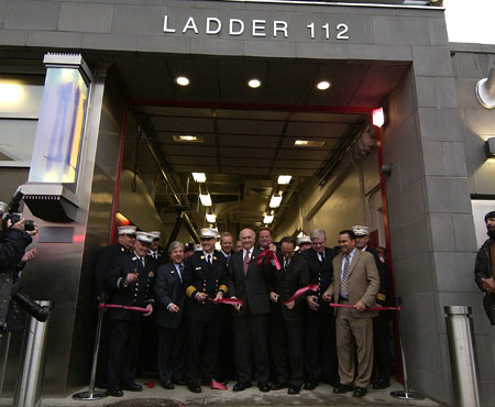 Fire Commissioner Nicholas Scoppetta, Chief of Department Salvatore J. Cassano, DDC Commissioner David J. Burney and the members of Engine Company 277 and Ladder Company 112 cut the ceremonial ribbon opening the new quarters of Engine 277/Ladder 112 in Brooklyn.
