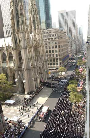 Firefighters from across the city gathered to celebrate the life of Firefighter Robert Beddia of Engine 24 at a service at St. Patrick's Cathedral in Manhattan on August 24.