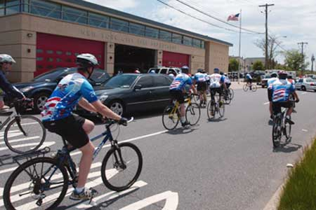 EMS members get started on the annual EMS Memorial Bike Ride to Roanoke, Va. on May 20. The bike ride kicks off National EMS Week.