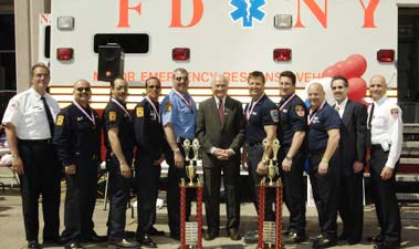 The 7th Annual EMS Competition took place at FDNY Headquarters on May 22. Both of the winning teams (for ALS and BLS skills) were from the Bureau of Training.
