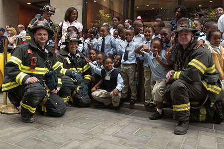 FDNY members joined second-grade students from Brooklyn at Rockefeller Center to celebrate Fire Prevention Week on October 9.