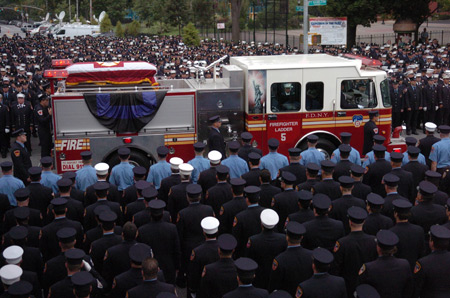 More than 8,000 firefighters gathered at St. Ephrem's Church in Brooklyn on August 23 to celebrate the life of Firefighter Joseph Graffagnino of Ladder 5. The Firefighter lost his life fighting a seven-alarm fire in Manhattan on August 18 along with Firefighter Robert Beddia of Engine 24.