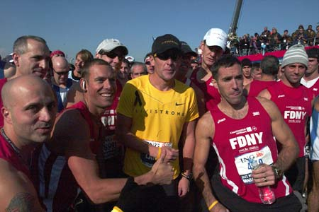 FDNY members at the marathon's starting line with champion cyclist Lance Armstrong.