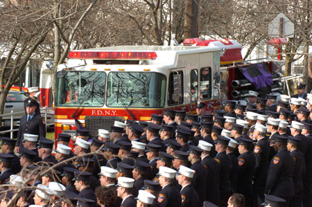 Thousands of firefighters lined the streets of Staten Island on January 8 to pay tribute to Lt. John Martinson of Engine 249.