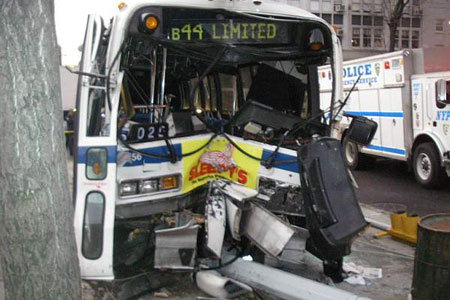 FDNY firefighters and EMS members rescue and transport 15 victims of a bus accident in Brooklyn on January 9.