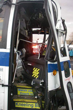 The driver of one of the buses was pinned behind the wheel and was extricated by firefighters from Ladder 113 before being transported to Kings County Hospital in serious condition.
