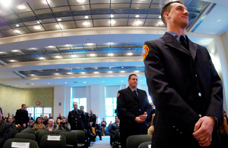 The 16 firefighters who donated bone marrow in 2007 were asked to stand and be recognized during the Honor Roll of Life ceremony on January 28.