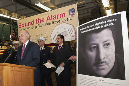 Fire Commissioner Nicholas Scoppetta, Chairman of the FDNY Foundation Stephen Ruzow, Congressman Jose Serrano and other FDNY members joined on February 11 to unveil the largest fire safety campaign in FDNY history.