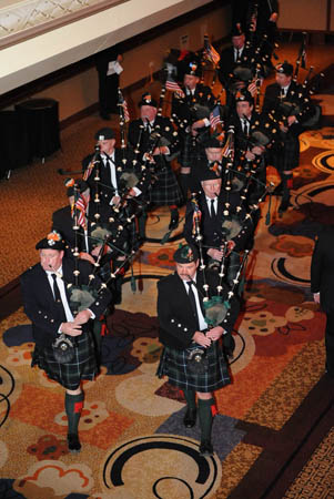 The FDNY Emerald Society Pipes and Drums Band kicked off the annual Humanitarian Awards Dinner.