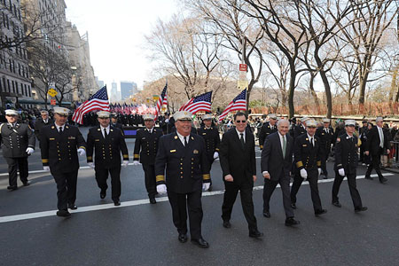 (L to R) Chief of Operations Patrick McNally, First Deputy Commissioner Frank Cruthers, Fire Commissioner Nicholas Scoppetta, Chief of Department Salvatore Cassano and Captain Thomas Kelly lead the FDNY up Fifth Avenue during the St. Patrick's Day Parade in Manhattan.