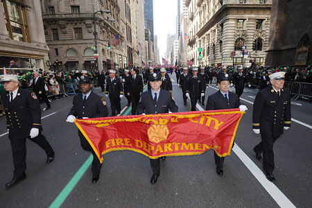 The FDNY makes its way up Fifth Avenue during the St. Patrick's Day Parade on March 17.