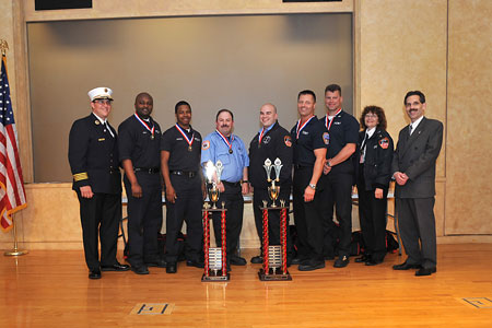 Station 8 and Station 39 celebrate their EMS Competition win.