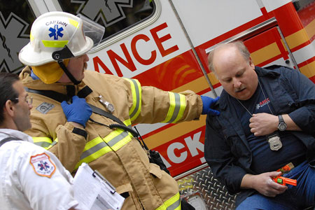 Teams of EMS members treated three victims in the 8th Annual EMS Competition.