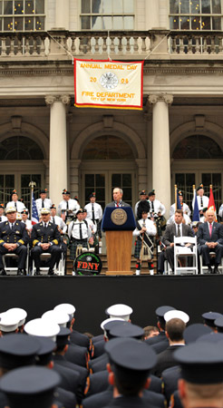 "Mayor Michael Bloomberg addresses the crowd of thousands that turned out for FDNY Medal Day, saying, ""on behalf of every New Yorker, our hearts are filled with gratitude and appreciation."