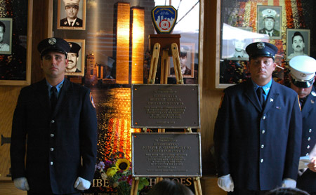 Plaques honoring Lt. Joseph Graffagnino and Firefighter Robert Beddia will hang in the quarters of Engine 24/Ladder 5 in Manhattan.