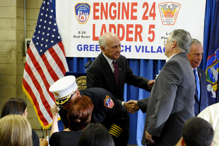 Mayor Michael Bloomberg, Fire Commissioner Nicholas Scoppetta and Chief of Department Salvatore Cassano greet Lt. Joseph Graffagnino's family at his and Firefighter Robert Beddia's plaque dedication ceremony on August 18.