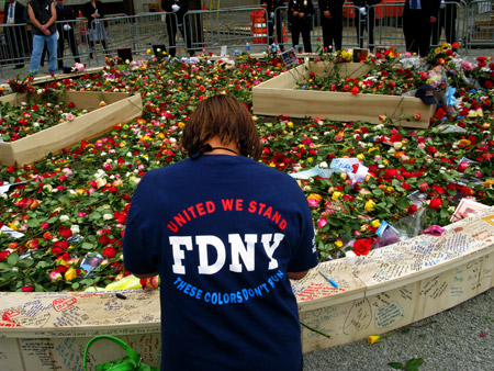 Firefighters, EMS members, family and friends gathered at the World Trade Center site for the seventh annual ceremony honoring the nearly 3,000 people who died on Sept. 11, 2001, including 343 FDNY members.