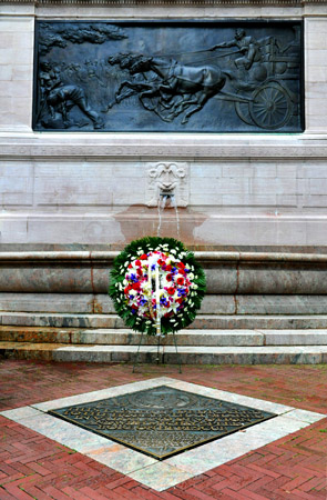A wreath is placed at the Firefighters' Memorial in upper Manhattan to honor the 343 FDNY members who died on Sept. 11, 2001.