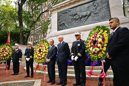 Mayor Michael Bloomberg, Fire Commissioner Nicholas Scoppetta, Chief of Department Salvatore Cassano, Chief of Operations Patrick McNally and Chief of EMS John Peruggia lay three wreaths at the Firefighter�s Memorial Monument in honor of the fire and EMS members who have died in the last year.