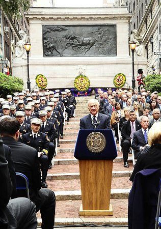 Fire Commissioner Nicholas Scoppetta addresses the crowd at FDNY Memorial Day.