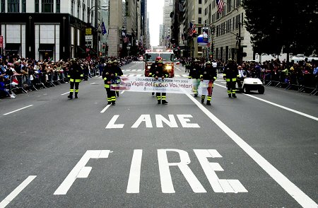 Italian firefighters marched with FDNY members along the parade route.