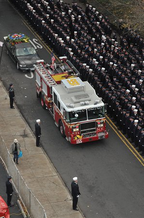 FDNY members line Castleton Avenue in Staten Island to pay their respects to Lt. Robert J. Ryan of Engine 155