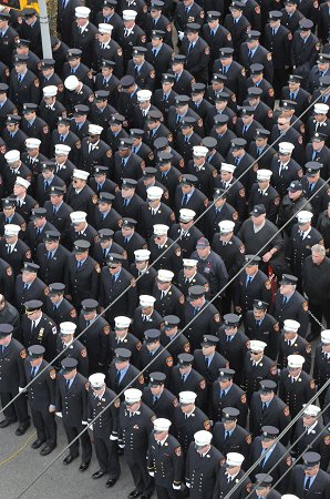 FDNY members gathered outside Sacred Heart Church in Staten Island Nov. 26 to say farewell to Lt. Robert J. Ryan Jr.